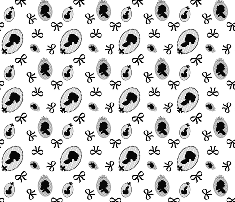 Cameo and bow print  fabric by rocking_horse_prints_ on Spoonflower - custom fabric