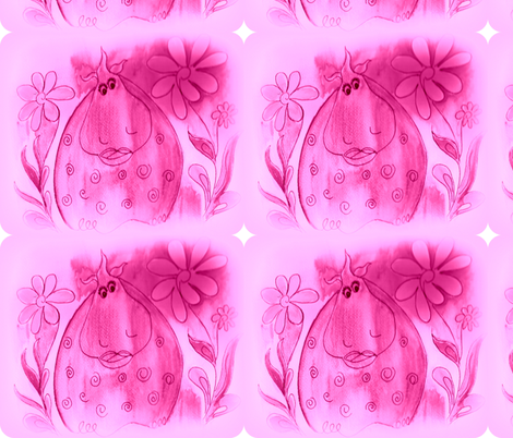 Hilda with a splash of Pink daisy's fabric by jellybeanquilter on Spoonflower - custom fabric