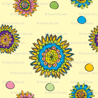 flower doodles in pale yellow and tourquoise