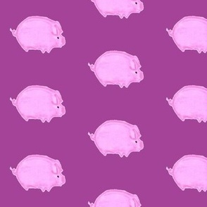 Pink Pig on Purple