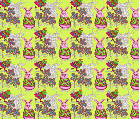 Chick and rabbit fabric by nadja_petremand on Spoonflower - custom fabric