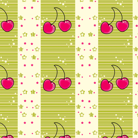 Sweet Cherry Stars Bright! - © PinkSodaPop 4ComputerHeaven.com fabric by pinksodapop on Spoonflower - custom fabric