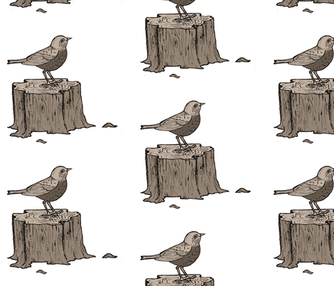 Bird on a stump fabric by taraput on Spoonflower - custom fabric