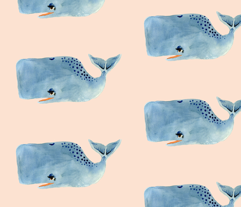Whale on Pink fabric by taraput on Spoonflower - custom fabric