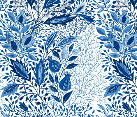 pomegranate0101-blue fabric by eva_the_hun on Spoonflower - custom fabric