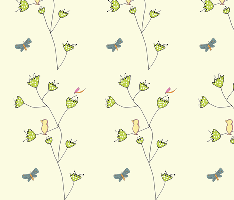 tulip_birds_new fabric by 5u5an on Spoonflower - custom fabric