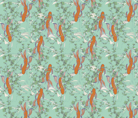 Goldfish pond fabric by ally&lucie on Spoonflower - custom fabric