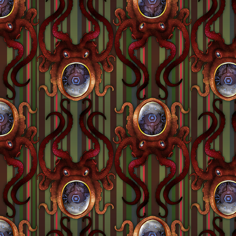 Clockwork Octopus 3 fabric by jadegordon on Spoonflower - custom fabric