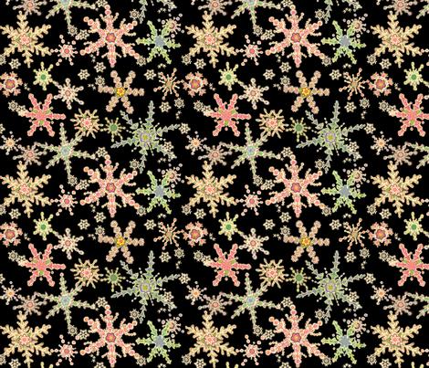 Snowflower Black fabric by juliamonroe on Spoonflower - custom fabric