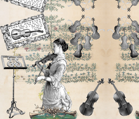 Oh, Maestro - I'll play you back... fabric by peacoquettedesigns on Spoonflower - custom fabric