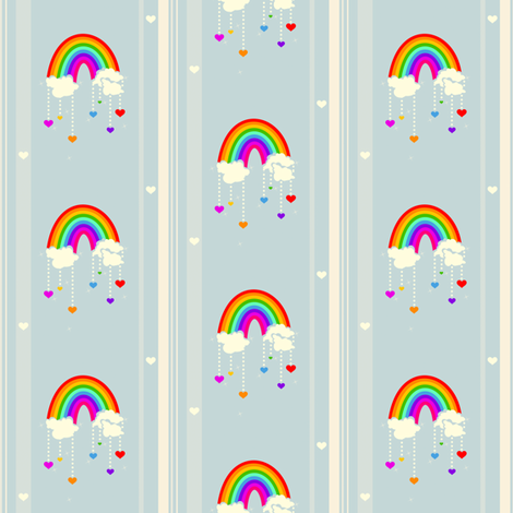 Rainbow Love Storm! - © PinkSodaPop 4ComputerHeaven.com  fabric by pinksodapop on Spoonflower - custom fabric