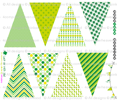 Strung Luck Bunting - Sew It Yourself Kit - St. Patrick's Day!  - Luck Be With You - © PinkSodaPop 4ComputerHeaven.com