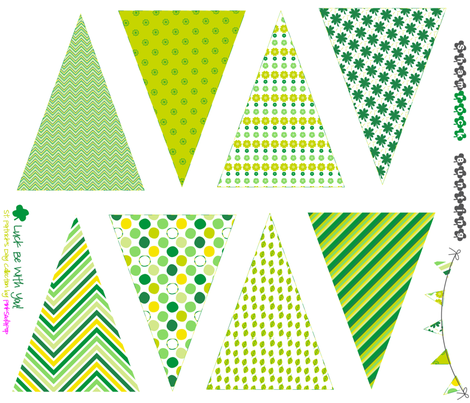 Strung Luck Bunting - Sew It Yourself Kit - St. Patrick's Day!  - Luck Be With You - © PinkSodaPop 4ComputerHeaven.com fabric by pinksodapop on Spoonflower - custom fabric