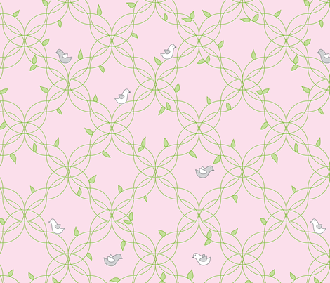 birdies_trellis_pink fabric by cottageindustrialist on Spoonflower - custom fabric