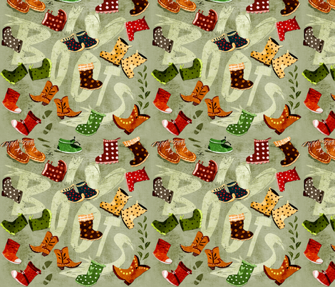 I love Boots fabric by chesirella on Spoonflower - custom fabric