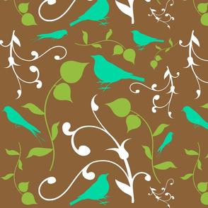 Swirly Bird Large Print Multi Brown