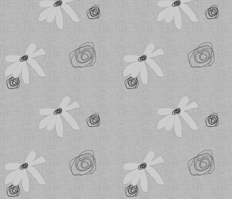 FUNKY FLOWERS-Gray-194 fabric by kkitwana on Spoonflower - custom fabric