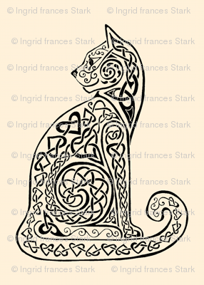 Celtic Cat 8 Black Ivory Fabric Ingridthecrafty
