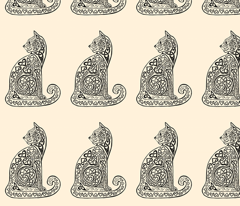 celtic cat 8 black/ivory fabric by ingridthecrafty on Spoonflower - custom fabric