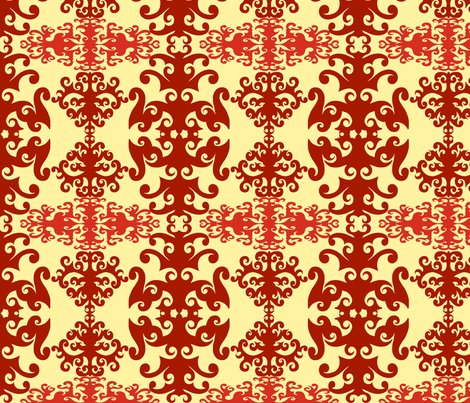 SCK Damask Red Cream fabric by stacyck on Spoonflower - custom fabric