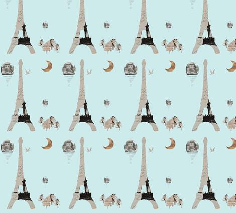 Paris Aqua fabric by karenharveycox on Spoonflower - custom fabric