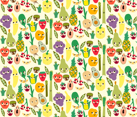 fruit and veggie madness fabric by heidikenney on Spoonflower - custom fabric