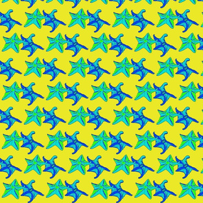 Green, Yellow, Blue starfish