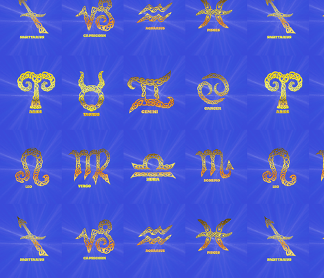 Celtic Astrology fabric by ingridthecrafty on Spoonflower - custom fabric