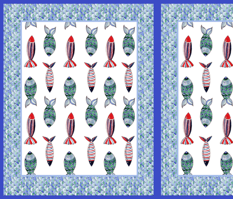 set poissons fabric by nadja_petremand on Spoonflower - custom fabric