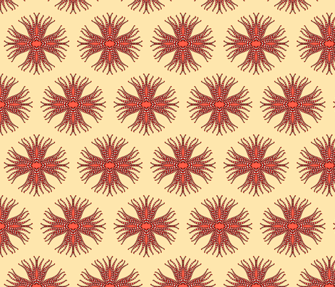 candy_cane_anemone_cream fabric by holli_zollinger on Spoonflower - custom fabric