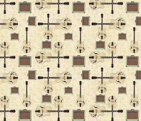 Cream Blues Guitar with Amp fabric by mayabella on Spoonflower - custom fabric