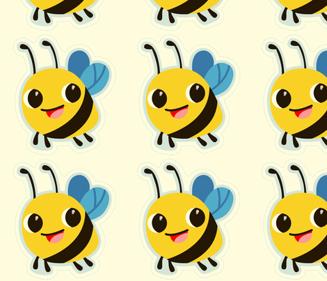 bee doll fabric by fhiona on Spoonflower - custom fabric