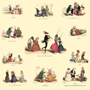 Vintage Printable - Toile - Grandville Metamorphoses du Jour- Antiqued