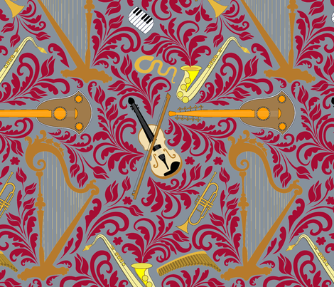 Music_grey_bakcground fabric by andrea11 on Spoonflower - custom fabric