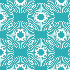 Flower - Teal - Reverse - large scale