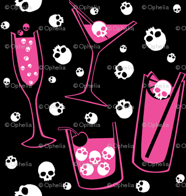 Retro Skull Cocktails (pink on black)