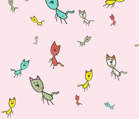 Kaids_Kitty_PINK fabric by 2munkeez on Spoonflower - custom fabric