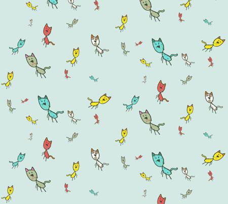 Kaids_Kitty Aqua Small print fabric by 2munkeez on Spoonflower - custom fabric
