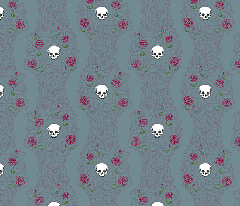 Where the Wild Roses Grow (Moody Blue) fabric by leighr on Spoonflower - custom fabric