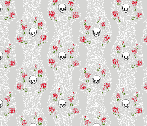 Where the Wild Roses Grow (Grey/White) fabric by leighr on Spoonflower - custom fabric