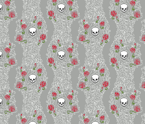 Where the Wild Roses Grow (Grey) fabric by leighr on Spoonflower - custom fabric