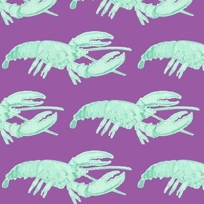 Blue Lobster on Darker Purple