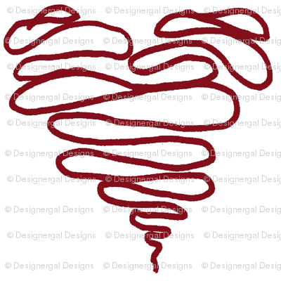 Red Squiggle Heart - Big