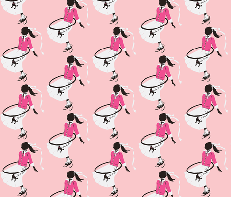 Hoola hoops and bobby socks and pink saddle shoes fabric by karenharveycox on Spoonflower - custom fabric