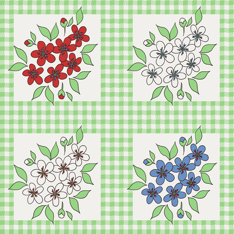 framed_flowers_and_gingham_in_green fabric by victorialasher on Spoonflower - custom fabric