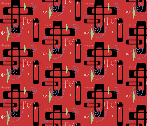 Retro Red fabric by poetryqn on Spoonflower - custom fabric
