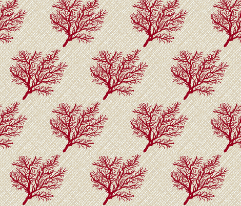 Red coral on seagrass fabric by paragonstudios on Spoonflower - custom fabric