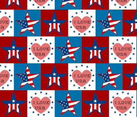 RED WHITE BLUE CHECK fabric by paragonstudios on Spoonflower - custom fabric