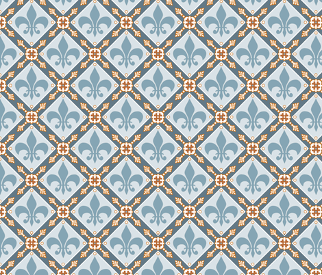 Pale Blue Medieval Repeat fabric by poetryqn on Spoonflower - custom fabric