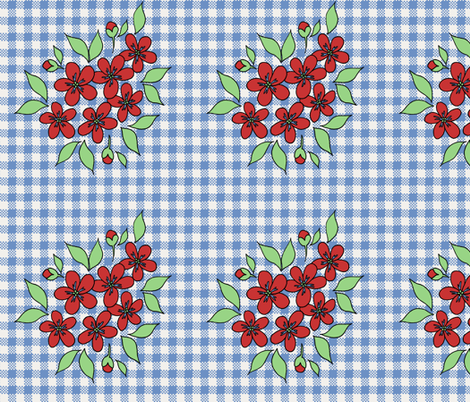 red_flowers_on_blue_gingham fabric by victorialasher on Spoonflower - custom fabric